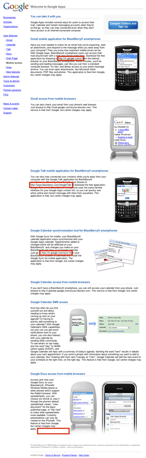 Snapshot of the Google Apps mobile description page with non-linked URL's highlighted