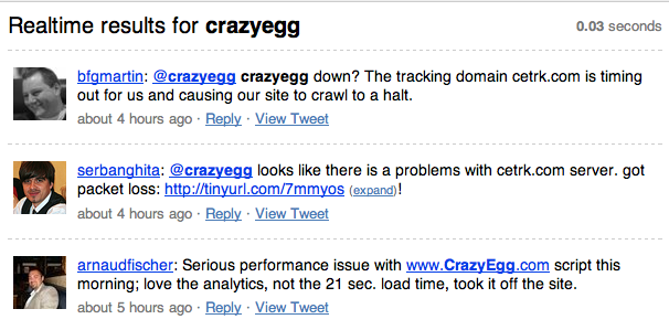 CrazyEgg search on Search.Twitter.com