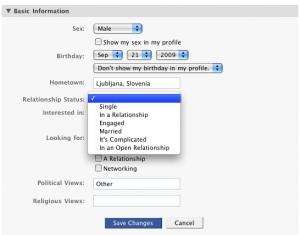 Facebook remove relationship status drop-down
