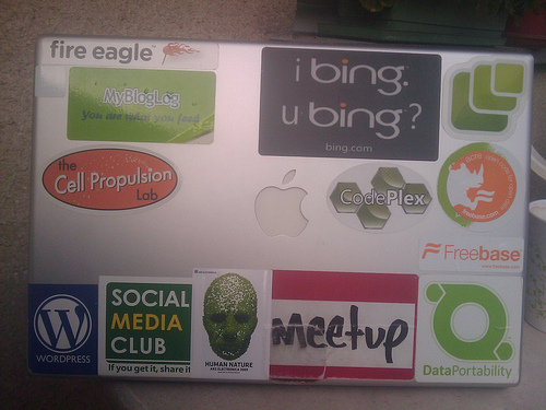 laptop full of stickers